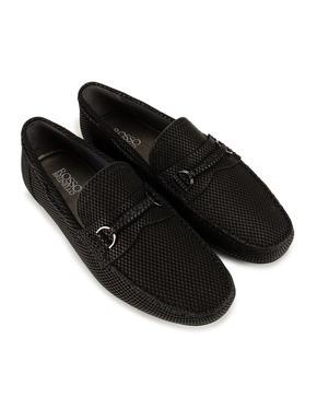 Black Patterned Loafers