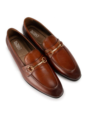 Brown Metal Buckled Loafers