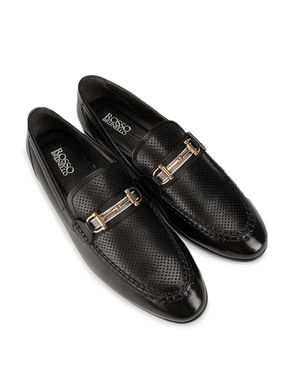 Black Perforated Loafers