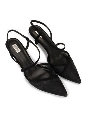 Black Lacy Kitten Heel Pumps