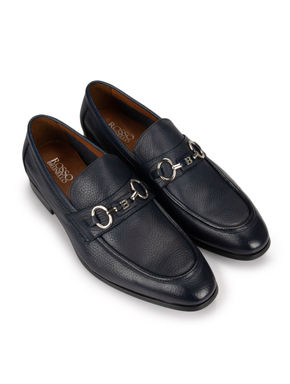 Textured Buckle Navy Loafers