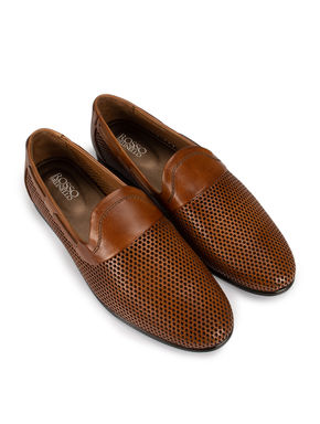 Tan Perforated Loafers