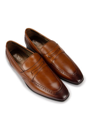 Tan Loafers With Leather Panel