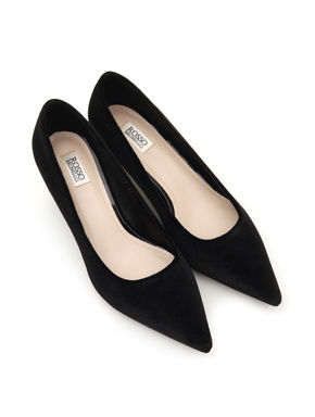 Plain Black Suede Heels