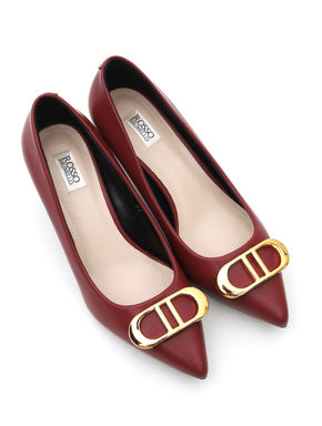 Burgundy Heels With Metal Embellishment