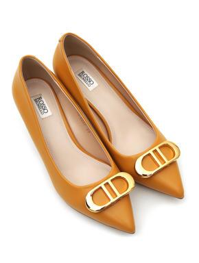 Mustard Heels With Metal Embellishment