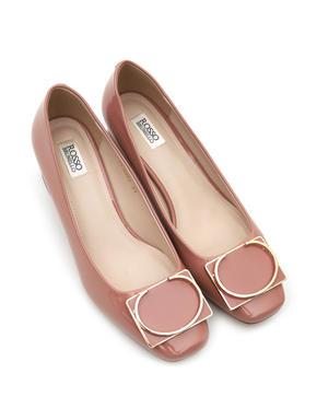 Pink Block Heels With Metallic Buckle