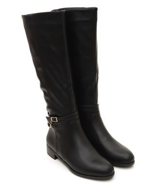 Calf Length Buckle Strap Boots