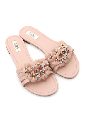 Pink Flats with Floral Detailing
