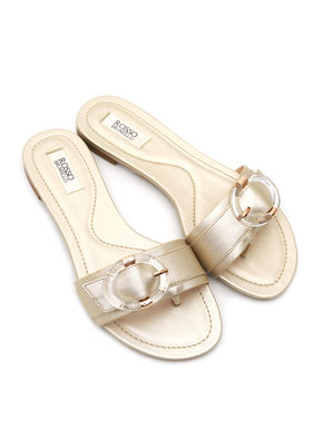 Golden Flats with Buckled Strap