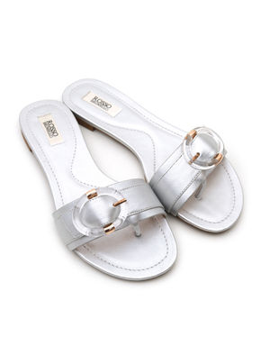 Silver Flats With Buckle