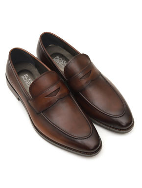 Coffee Loafers With Leather Panel