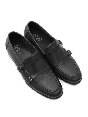 Plain Black Leather Monk Strap