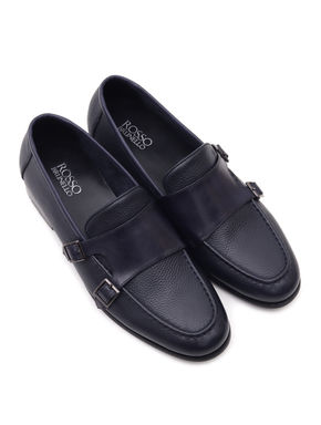 Plain Blue Leather Monk Strap