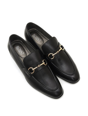 Plain Black Loafers With Metal Embellishment