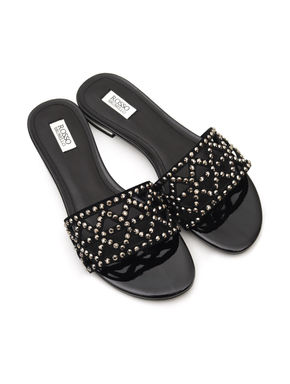 Studded Broad Strap Slip Ons