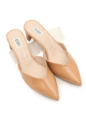 Pointed Toe Mules With Transparent Strap