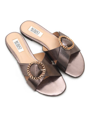 Cross Panelled Buckle Flats