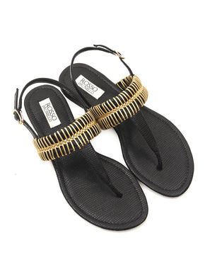T-Strap Flat Sandals With Metal Embellishment