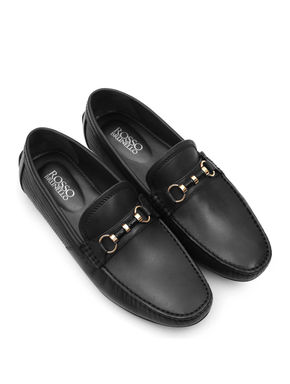 Plain Black Moccasins With Penny Buckle