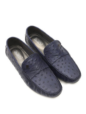 Blue Moccasins In Ostrich Leather
