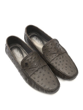 Grey Moccasins In Ostrich Leather