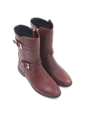 Boxed Calf Leather Boots