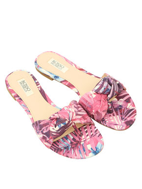 Printed Flats With Bow Detailing