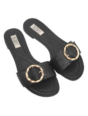 Slip On Sandal With Buckle Detail