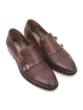Burnished Leather Monk Strap