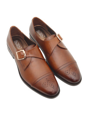 Burnished Leather Monk Straps
