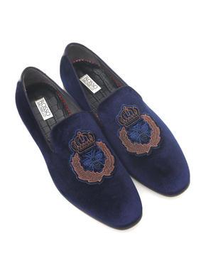 Velvet Embroidered Loafers