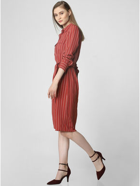 Rust Striped Shirt Dress