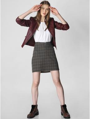 Burgundy Faux Leather Short Jacket