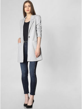 Grey Long Blazer