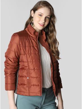 Brown Tape Detail Puffer Jacket