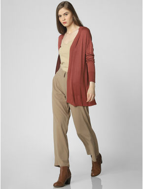 Brown Open Long Cardigan