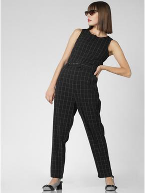Black Check Jumpsuit