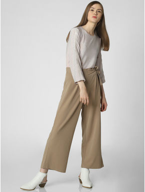 Beige Mid Rise Tie Waist Cropped Pants