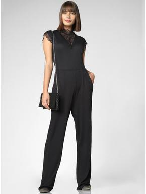 Black Lace Detail Jumpsuit