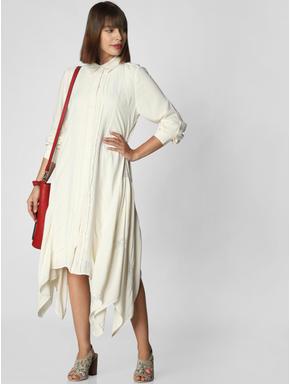 Off White Asymmetric Shirt Dress
