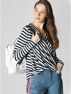 White Striped Oversized Top