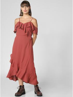 Rust Ruffle Detail Maxi Dress