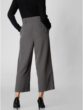 Grey Paper Bag Waist Culottes