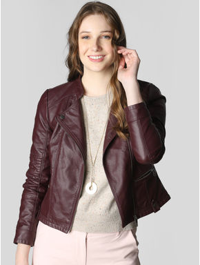 Burgundy PU Casual Jacket
