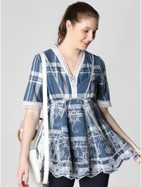 Blue Embroidered Check Top