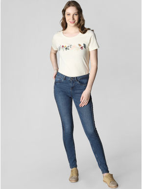 Blue Mid Rise Pintuck-Detail Skinny Fit Jeans