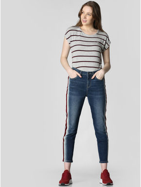 Blue Mid Rise Tape Detail Girlfriend Jeans