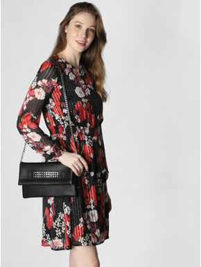 Black Floral Print Pleated Fit & Flare Dress