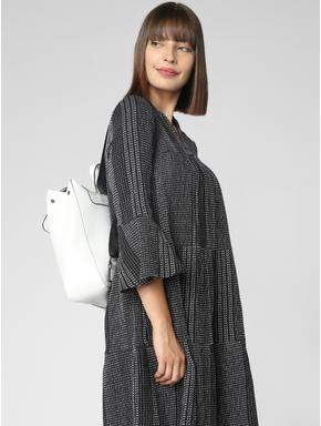Black Shimmer A-Line Dress